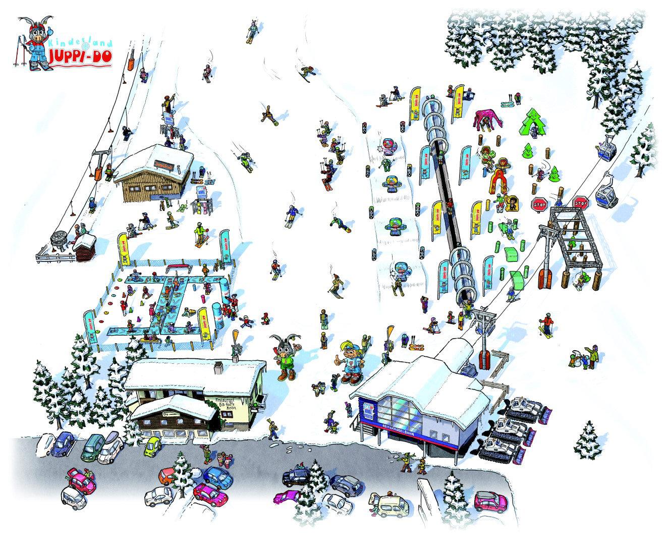 Geländezeichnung vom Kinderland Juppi Do (Smart Solutions) an der Talstation der Reitherkogelbahn. © Ski Juwel